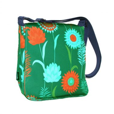 Sallyann Messenger Bag Green, showerproof bag with denim lining, handmade in Ireland by Sallyann Bags