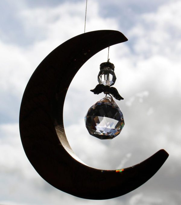 angel suncatcher handmade from oak and crystal, made in Ireland