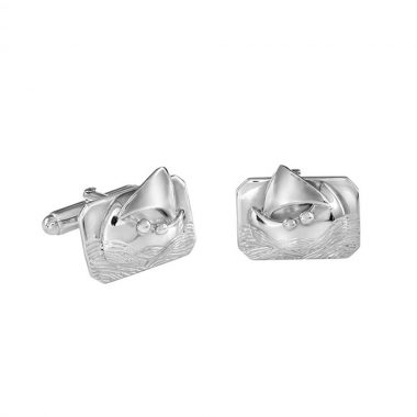 Extra special silver cufflinks gifts for men, voyage boat and two people, handmade in Ireland by Garrett Mallon