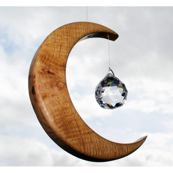 Crystal Suncatcher, wood moon shape with crystal, handmade in Ireland