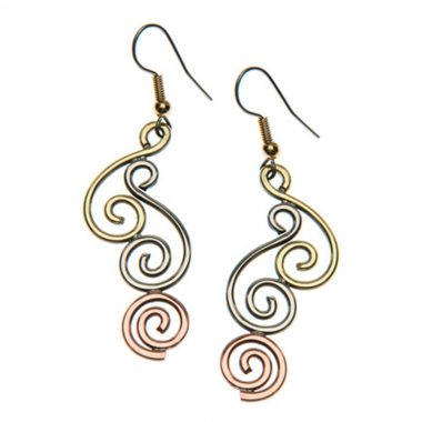 Spiral of Life Earrings handmade in Ireland using copper, brass and alpaca silver