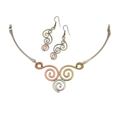 Celtic Spiral Jewellery Pendant and Earring Set made in Ireland