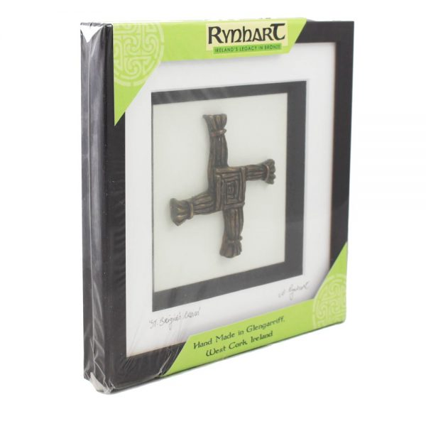 bronze brigids cross in a frame, made in Ireland