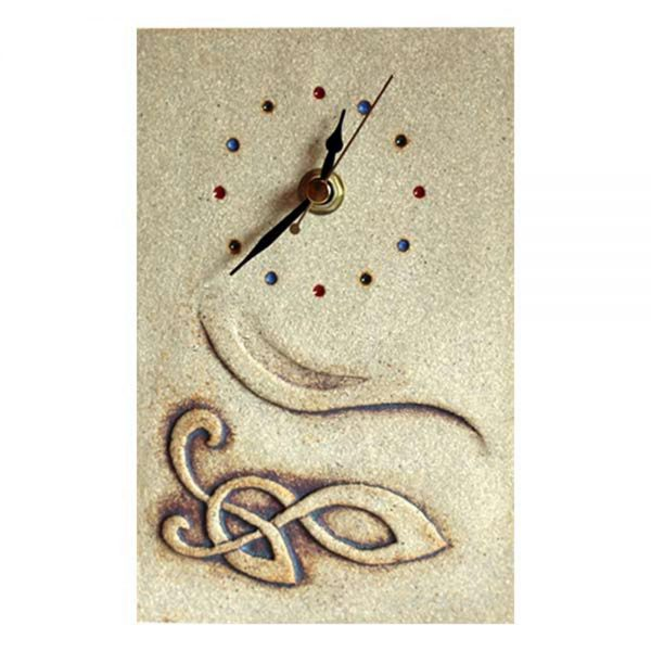 Ceramic Celtic Clock, small wall clock with rustic look and feel, handmade in Ireland