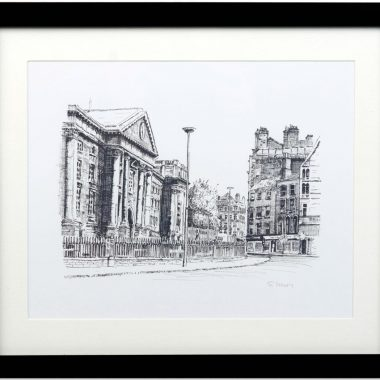 Trinity College Dublin Print in a black frame and signed by the artist Fran Leavey