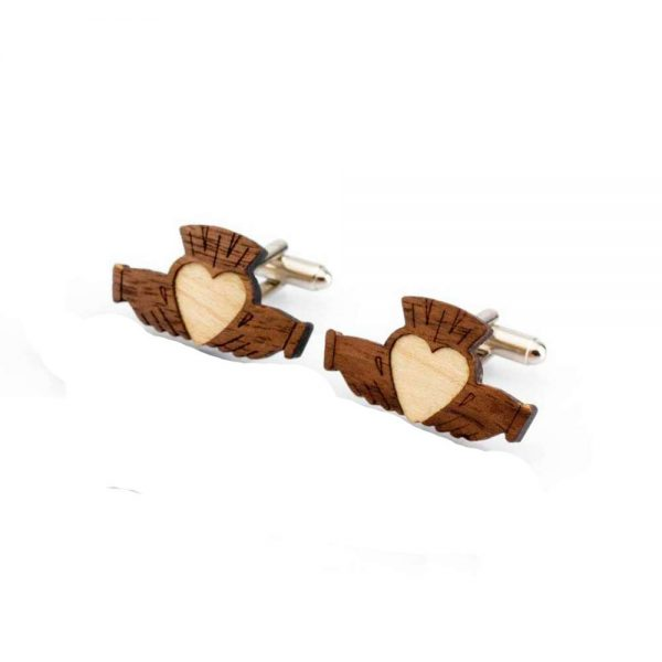 Wooden Claddagh Cufflinks made in Ireland