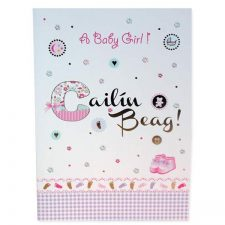 New baby girl card in Irish and English text