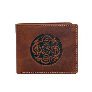 Tan leather wallet inspired by the famous legend warrior Cuchulainn, with embossed Celtic Wolfhoud design, handmade in Ireland by Lee River Leather