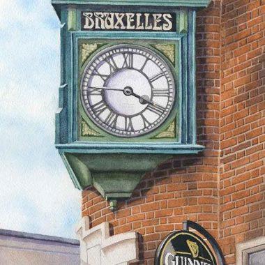 Bruxelles Clock print by Sean Curran Art