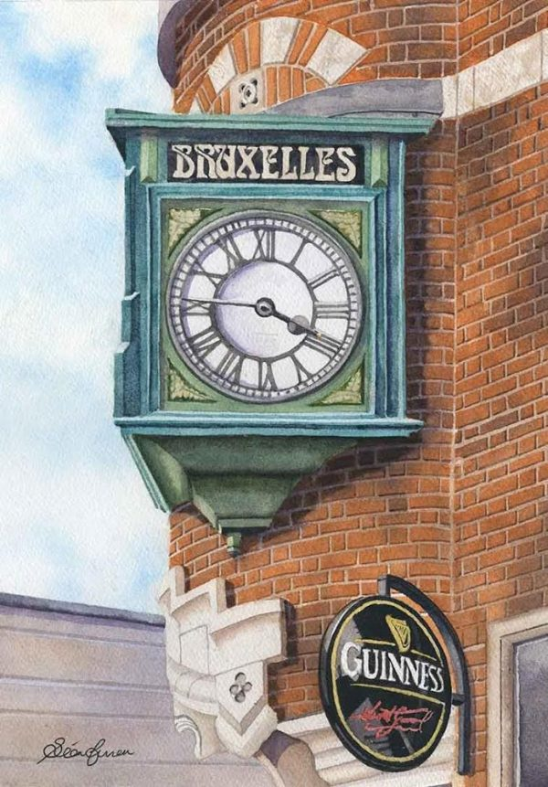 Bruxelles Clock print by Sean Curran Art