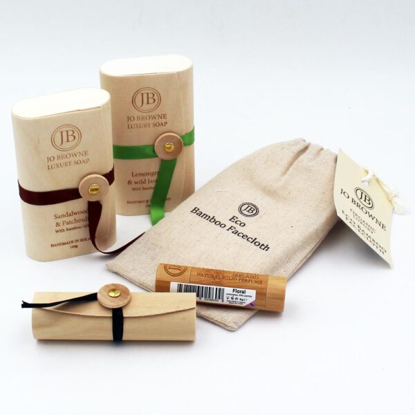 Wonderful gift set, includes Perfume for women, 2 natural soaps and a bamboo facecloth. Gifts from Ireland for her