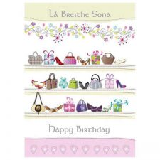 Birthday Card for Women shopping theme with Irish & English text