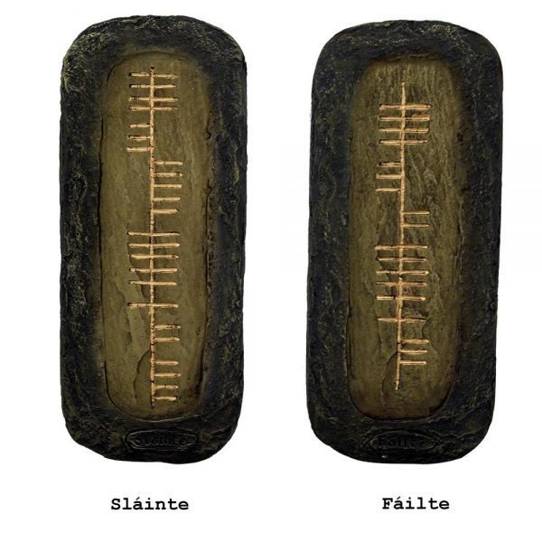 Ogham script for Slainte and Failte, Irish gifts made in Ireland