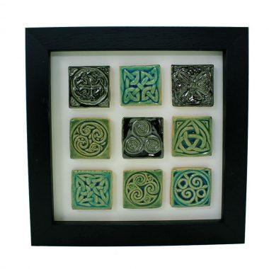 Celtic design tiles, set of 9 mini tiles each with a different Celtic design