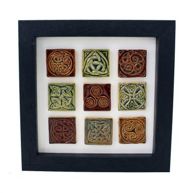 Set of 9 Celtic tiny tiles in a frame, colours of an Irish forest
