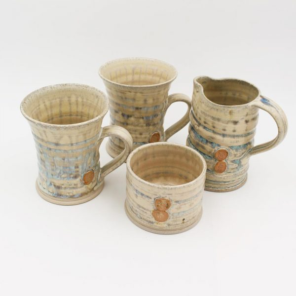 irish pottery, mugs, sugar bowl and milk jug set, handmade in Ireland by Amanda Murphy Pottery