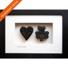A heart and a shamrock made from Irish peat turf, love Irish gifts, the love of Ireland