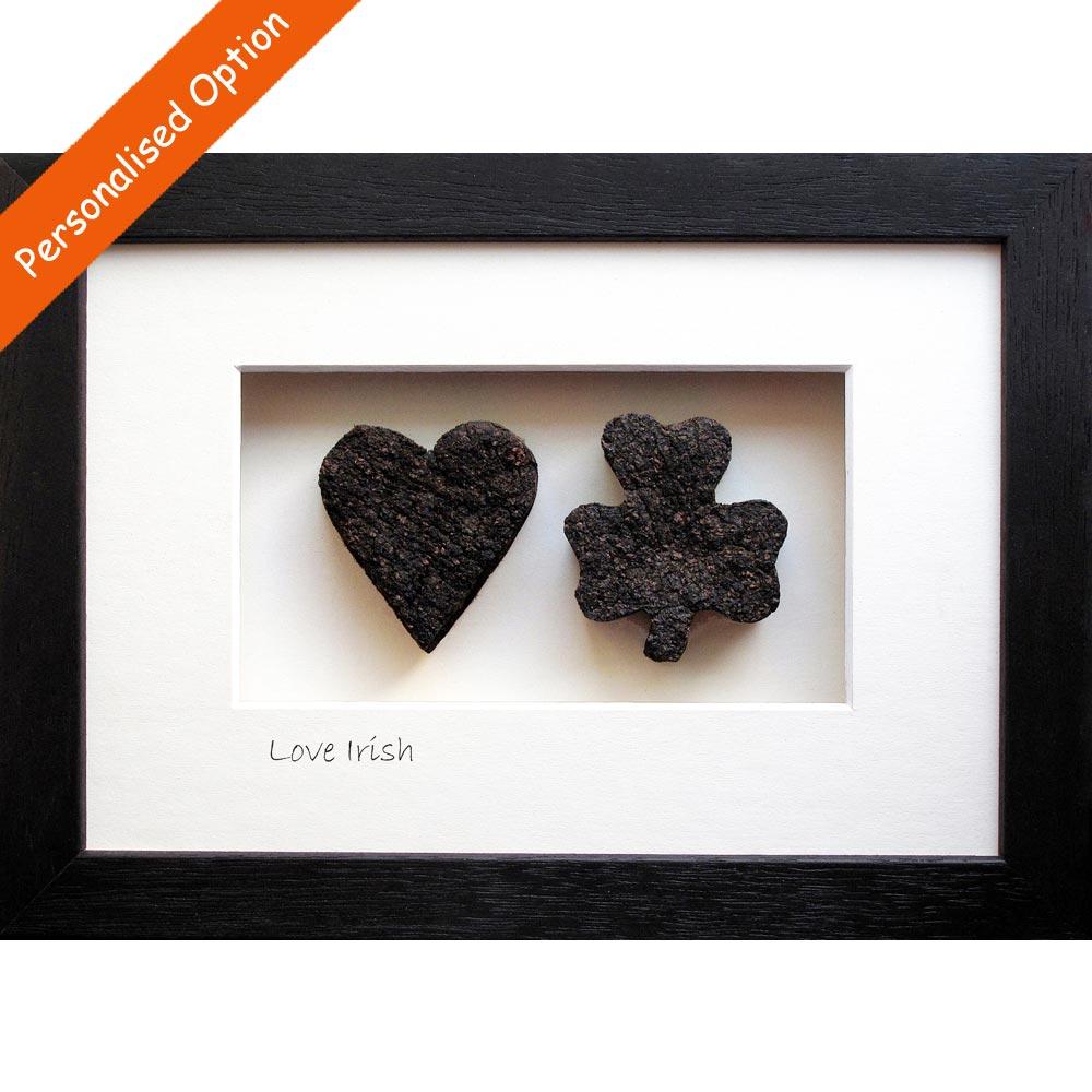 23e8de201de9 A heart and a shamrock made from Irish peat turf