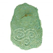 Triple Spiral Celtic Wall Clock handmade in Ireland by Callura Pottery