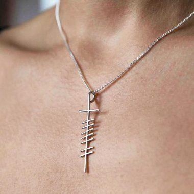 Gra Love Ogham Pendant, silver, made in Ireland