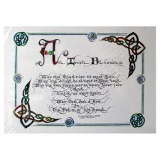 May the road rise up to meet you Irish Blessing, print of original calligraphy and celtic artwork, made in Ireland