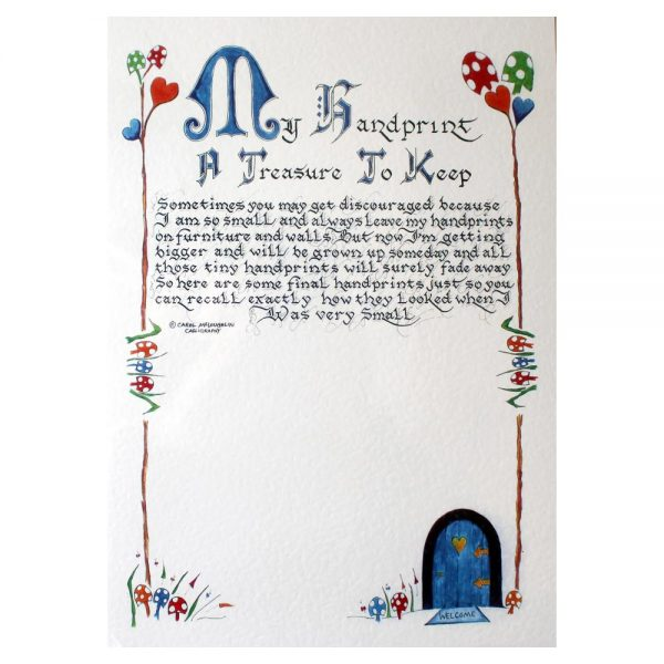 My handprint, a lovely keepsake to treasure your child's handprint, with a lovely verse done in calligraphy, made in Ireland
