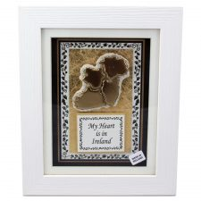 Clay map of Ireland framed with wording My Heart is in Ireland