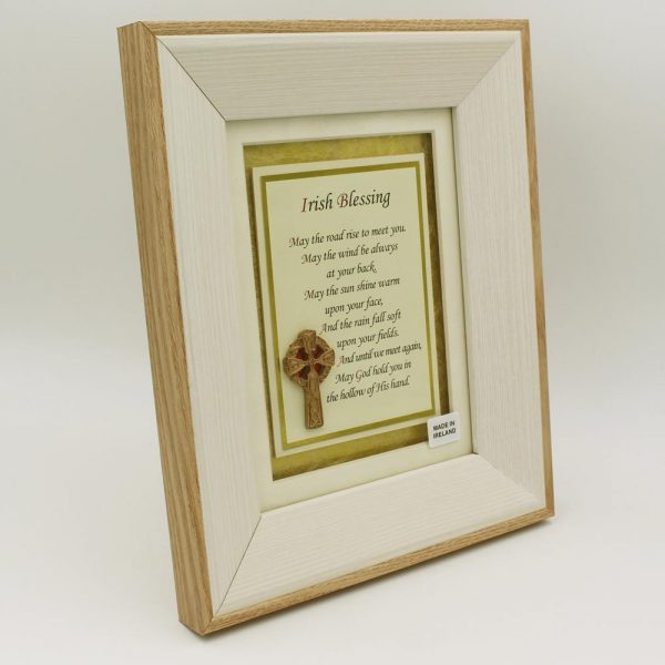 Irish Blessing May the Road Rise to meet you. with 3D Celtic Cross in a wooden frame