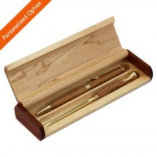 Wooden pen and letter opener gift set, made from cherry wood in Ireland