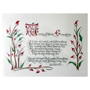 Walking with Grandma, a sweet and true verse in beautiful calligraphy and colourful artwork, made in Ireland
