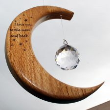 valentine presents for her, crystal and wooden sun catcher 'I love you to the moon and back'