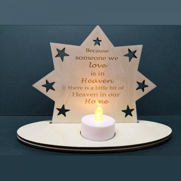 Heaven in our Home poem engraved on wood and place for a candle