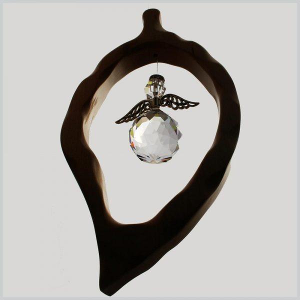 Leaf Crystal Angel Suncatcher, handmade from Alder wood in Ireland