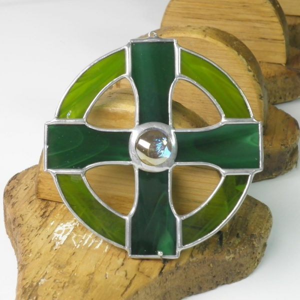 Celtic Cross stained glass gift, handmade in Ireland, green colour