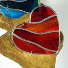 Red Heart glass ornament, handmade in Ireland