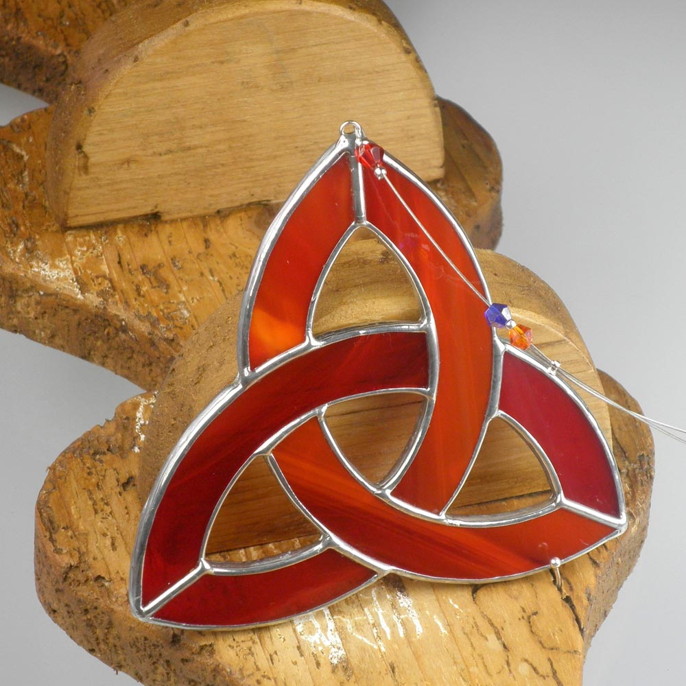 Irish Wedding Gifts From Ireland: Red Triquetra Stained Glass Gift