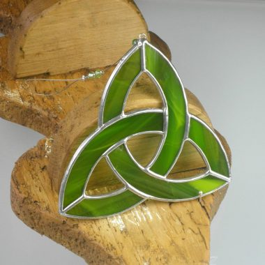 Green Triquetra ornament, handmade in Ireland