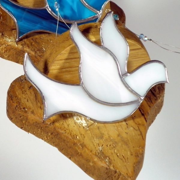 Stained Glass White Dove Ornament, Confirmation gifts handmade in Ireland