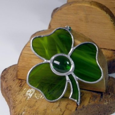 Shamrock stained glass gift, handmade in Ireland