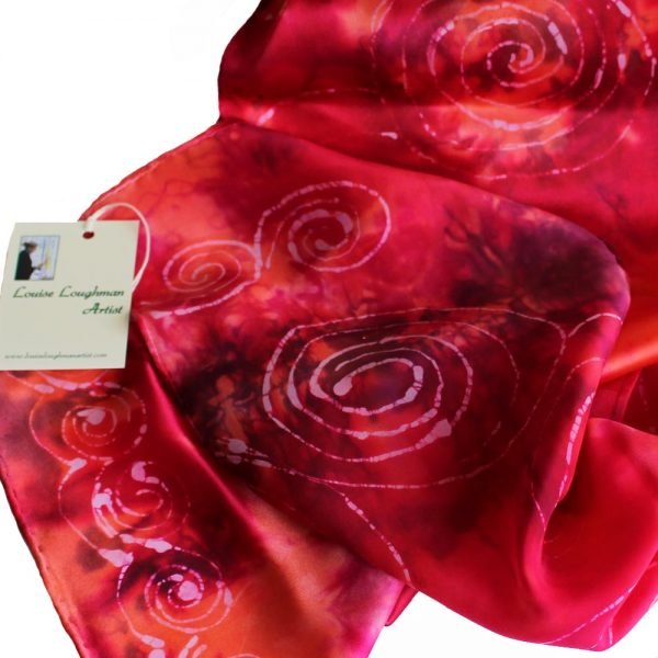 Celtic Spiral Silk Scarf, pink, handpainted in Ireland by Louise Loughman