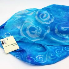 Celtic Spiral Silk Scarf, blue with Celtic spiral design, handmade in Ireland from silk satin