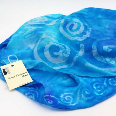 Celtic Spiral Silk Scarf, blue with Celtic spiral design, handmade in Ireland from silk satin