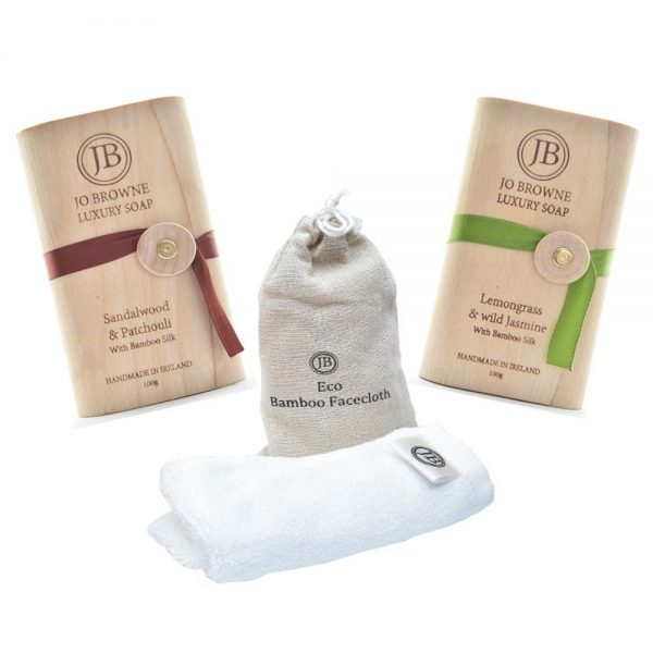 Luxury Soap Gift Set handmade by Jo Browne, Ireland, 2 soaps and a bamboo facecloth