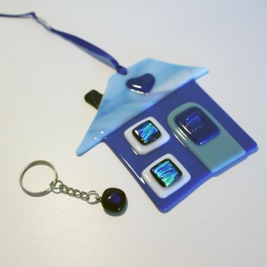 Home is Where the Heart is gifts, a little fused glass house and matching keying, handmade in Ireland