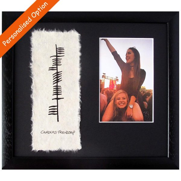 Ogham Frienship Photo Frame with Ogham, English and Irish writing, made in Ireland