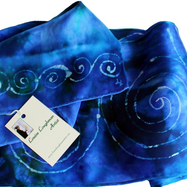 silk scarf gifts for women Ireland, handpainted in blue with Celtic Spiral design, made in Ireland
