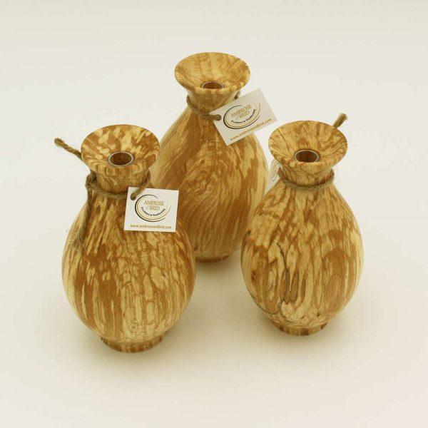 spalted beech bud vase, wooden gifts handmade in Ireland