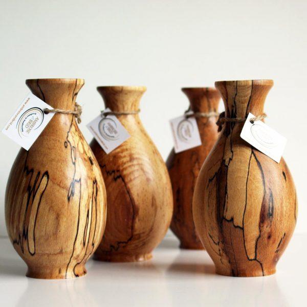 Spalted Beech Wooden Bud Vase, handcrafted in Ireland