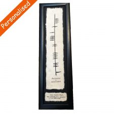 Personalised Ogham Thank You Frame, Ogham & English & Irish Writing on handmade paper in a slim black frame, made in Ireland
