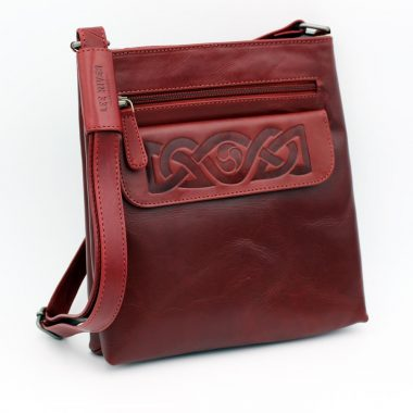 Red Leather Handbag, handmade in Ireland by Lee River, Cork
